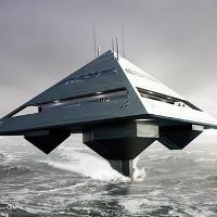 Siêu du thuyền hình kim tự tháp lơ lửng trên biển