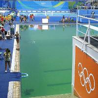 Hồ bơi Olympic vẫn xanh rì và giờ bắt đầu bốc mùi thối