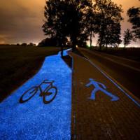 Con đường tự phát sáng ban đêm nhờ năng lượng mặt trời