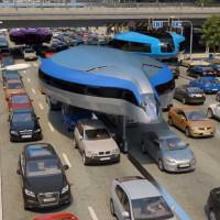 Xe bus của tương lai đi bằng hai bánh trên đầu các phương tiện khác