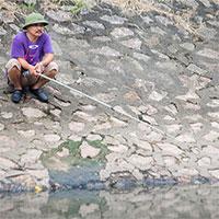 """Người dân """"thong thả"""" ngồi câu cá bên bờ sông Tô Lịch"""