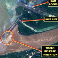 Ảnh vệ tinh cho thấy đập Tam Hiệp có thể đã mở toàn bộ cửa xả lũ