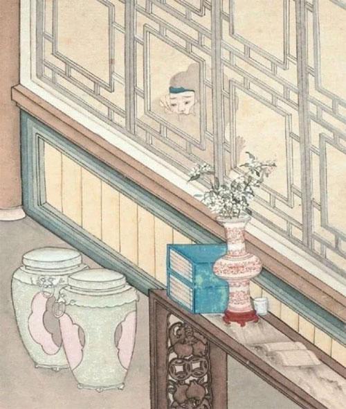 """Ánh mắt kinh hãi của Vương Sinh được tác giả khắc họa trong bức tranh """"Nhòm cửa thấy quỷ"""""""