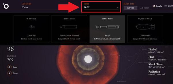 Mục Bomb cho phép người dùng chọn các loại bom khác nhau