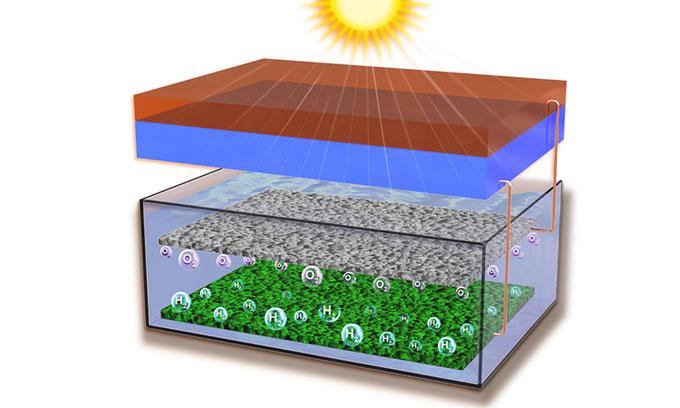 Minh họa công nghệ chuyển đổi năng lượng mặt trời thành hydro trực tiếp