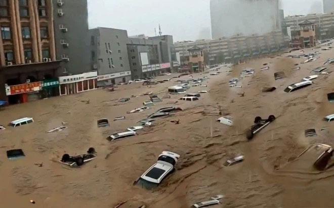 Quang cảnh trận lũ lụt ở Trịnh Châu Trung Quốc hồi tháng 7