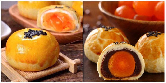 Bánh trung thu với phần nhân trứng muối và trứng chảy
