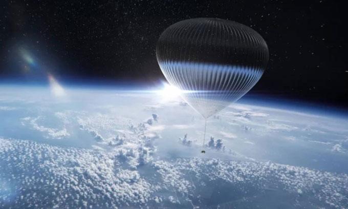 Khinh khí cầu mang theo khoang tàu chở khách lên tầng bình lưu.